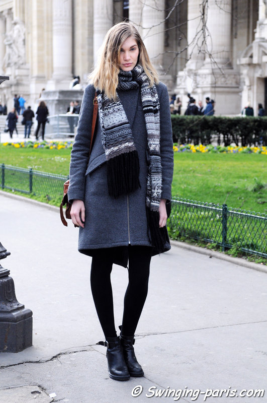Irina Nikolaeva (Ирина николаева) outside Guy Laroche show, Paris F/W 2014 RtW Fashion Week, February 2014