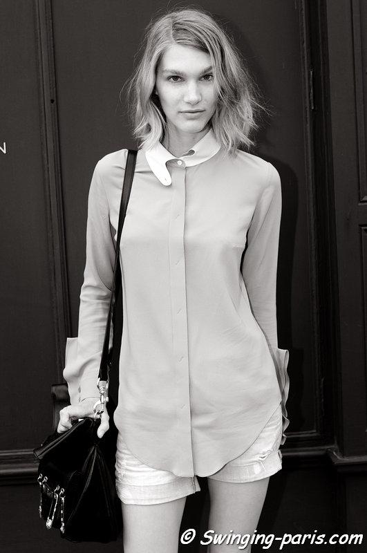Irina Nikolaeva (Ирина николаева) outside Chalayan show, Paris S/S 2014 RtW Fashion Week, September 2013