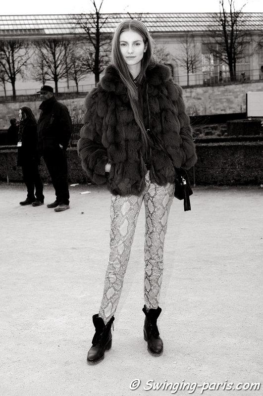 Iris van Berne leaving Valentino show, Paris F/W 2013 RtW Fashion Week, March 2013