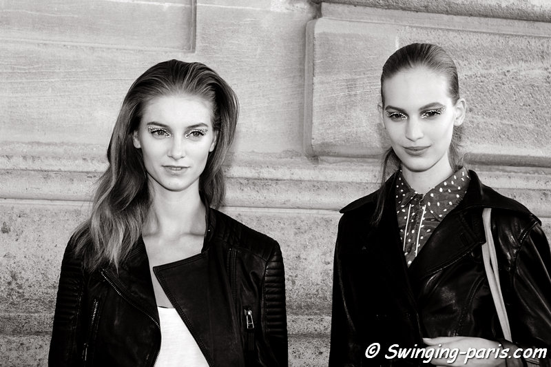 Iris van Berne and Vanessa Axente (right) leaving Christian Dior show, Paris S/S 2013 RtW Fashion Week, September 2012
