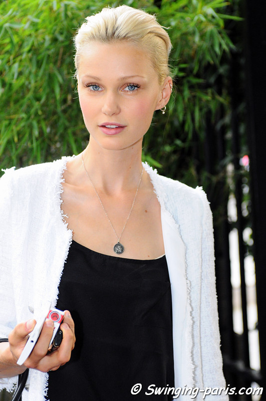 Isabella Lindblom leaving Georges Hobeika show, Paris Haute Couture F/W 2012 Fashion Week, July 2012