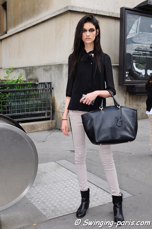 Isabella Melo leaving Stphane Rolland show, Paris Haute Couture F/W 2012 Fashion Week, July 2012