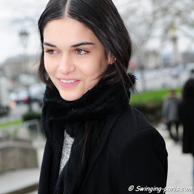 Isabella Melo leaving Allude show, Paris F/W RtW 2012 Fashion Week, March 2012