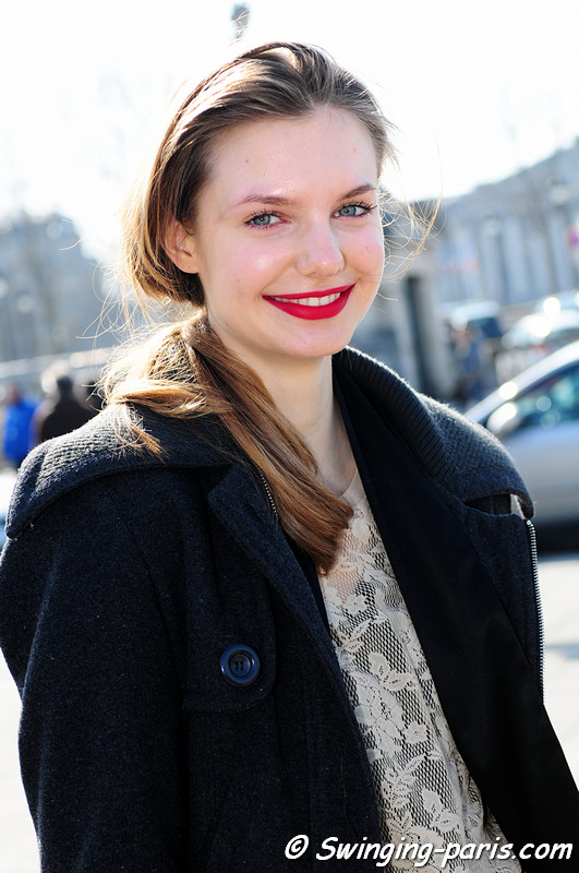 Isabella Oberg after Jean-Charles de Castelbajac show, Paris Fashion Week, March 2011