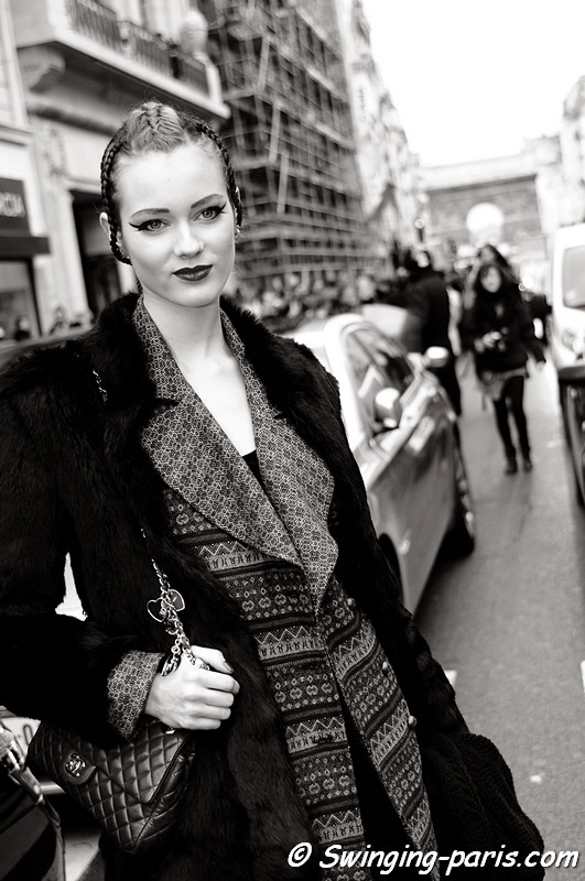 Jac (Monika Jagaciak) after Jean Paul Gaultier show, Paris Fashion Week, January 2011