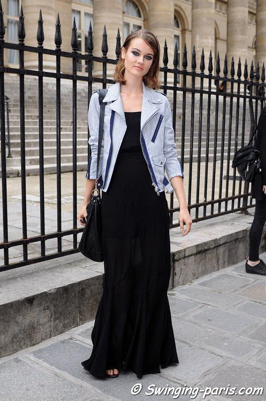 Jac (Monika Jagaciak) leaving Elie Saab show, Paris Haute Couture F/W 2013 Fashion Week, July 2013
