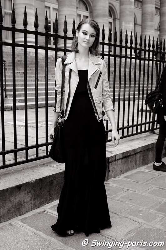 Jac (Monika Jagaciak) leaving Elie Saab show, Paris Haute Couture F/W 2013 Fashion Week, July 2013