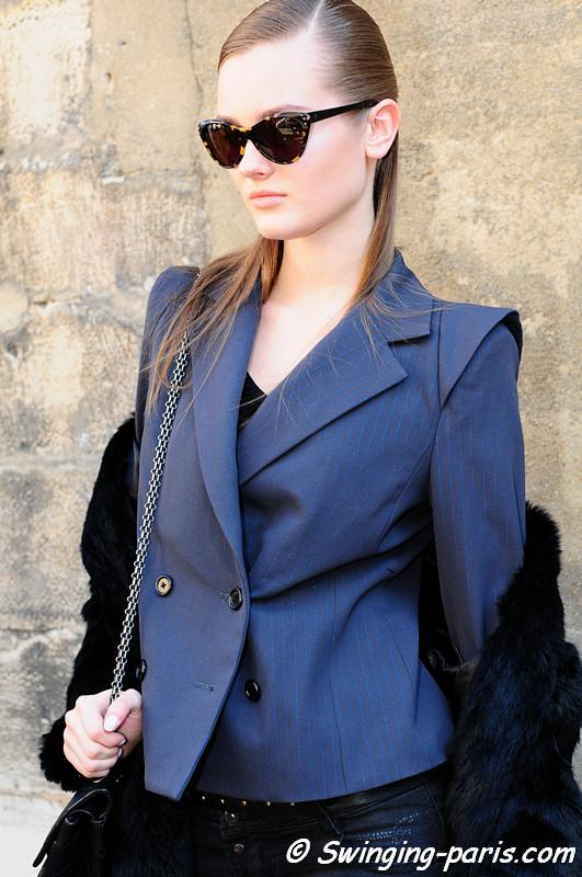 Jac (Monika Jagaciak) leaving Giambattista Valli show, Paris Fashion Week March 2011
