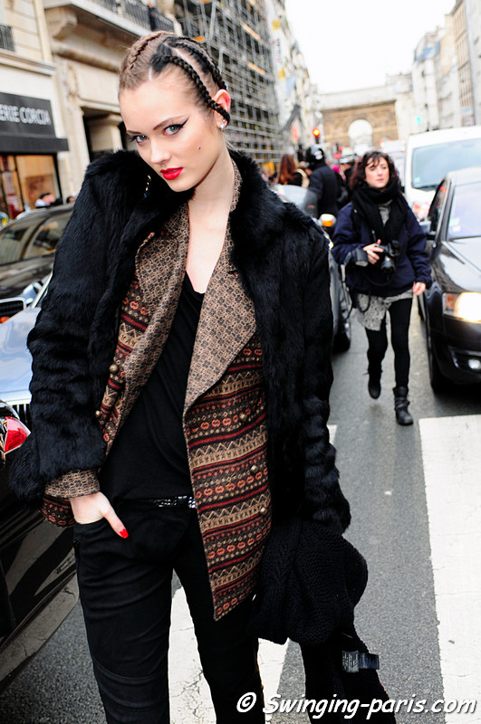 Jac (Monika Jagaciak) after Jean Paul Gaultier show, Paris Fashion Week, January 2011