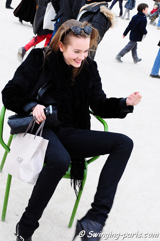 Jac (Monika Jagaciak) leaving Elie Saab show, Paris Fashion Week March 2011