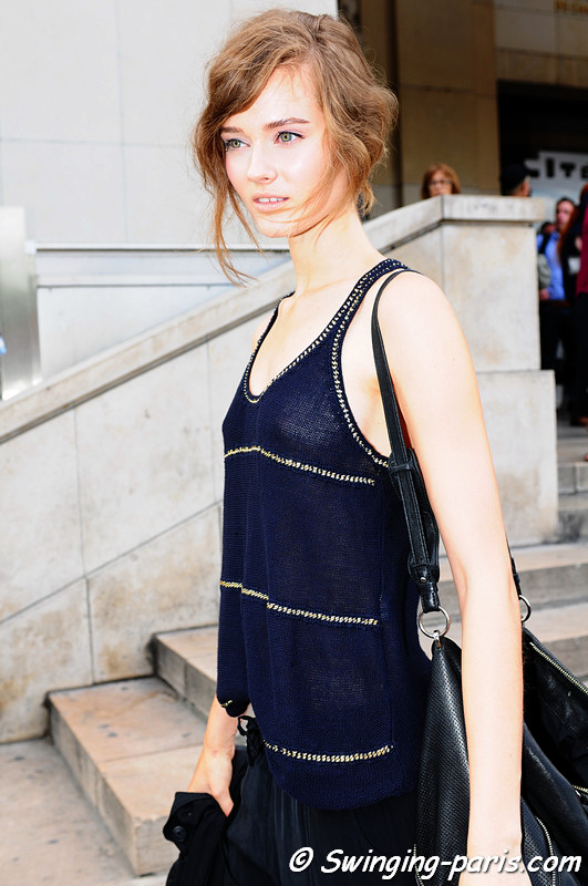 Jac (Monika Jagaciak) outside Elie Saab show, Paris Haute Couture F/W Fashion Week, July 2011