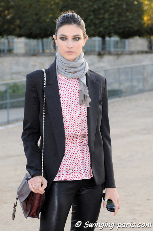 Jacquelyn Jablonski outside Nina Ricci show, Paris S/S 2013 Fashion Week, September 2012
