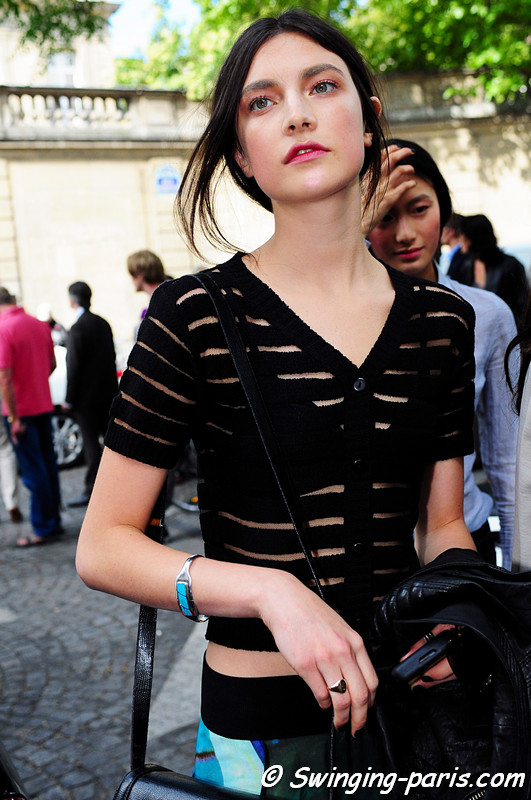 Jacquelyn Jablonski leaving Valentino show, Paris Haute Couture F/W Fashion Week, July 2011
