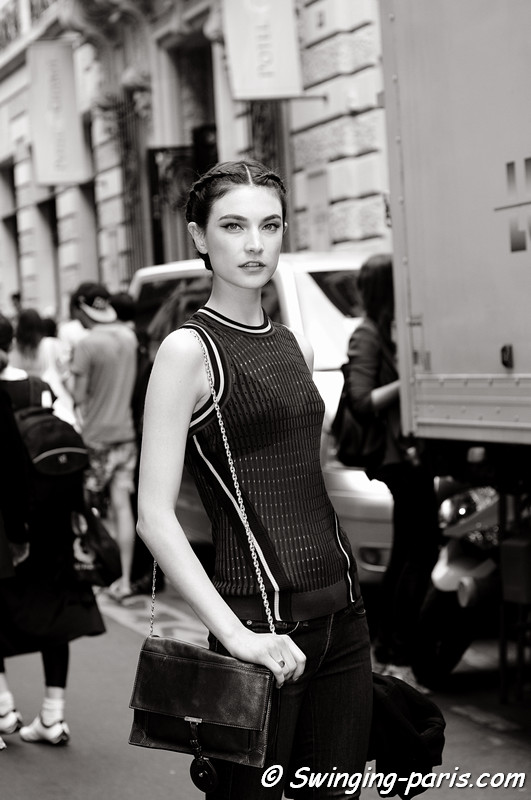 Jacquelyn Jablonski leaving Elie Saab show, Paris Haute Couture F/W 2012 Fashion Week, July 2012