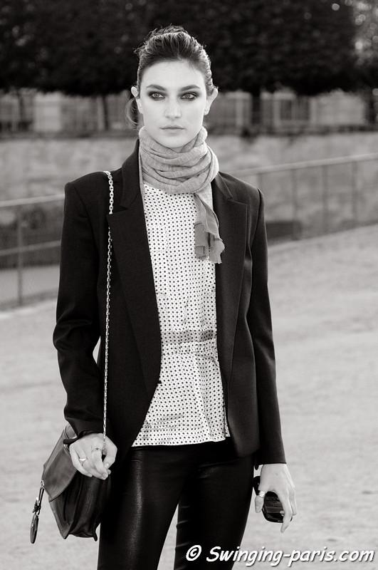 Jacquelyn Jablonski outside Nina Ricci show, Paris S/S 2013 Fashion Week, September 2012