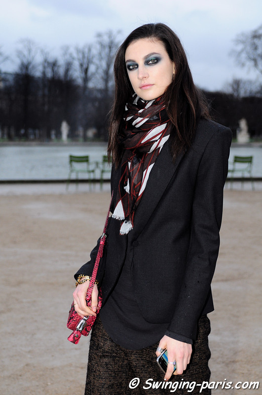 Jacquelyn Jablonski outside John Galliano show, Paris F/W RtW 2012 Fashion Week, March 2012