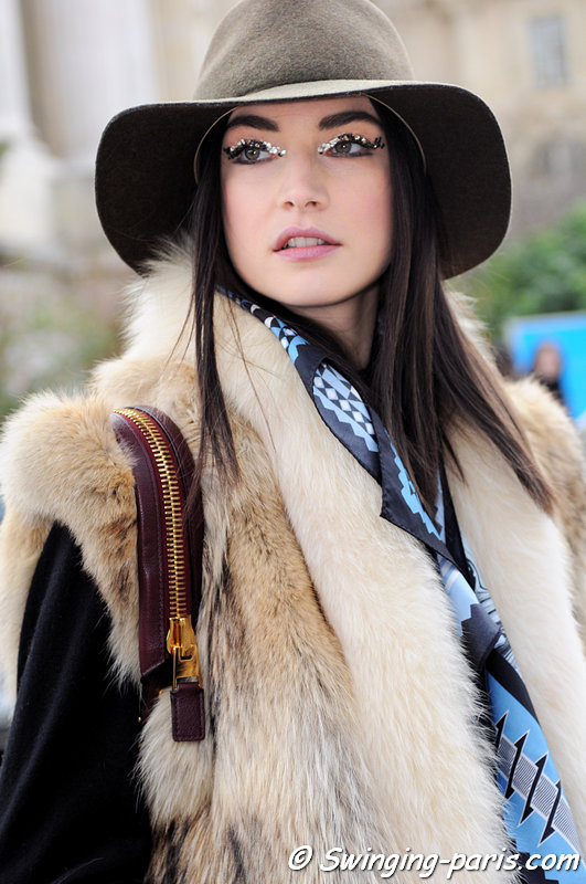 Jacquelyn Jablonski leaving Chanel show, Paris F/W 2013 RtW Fashion Week, March 2013