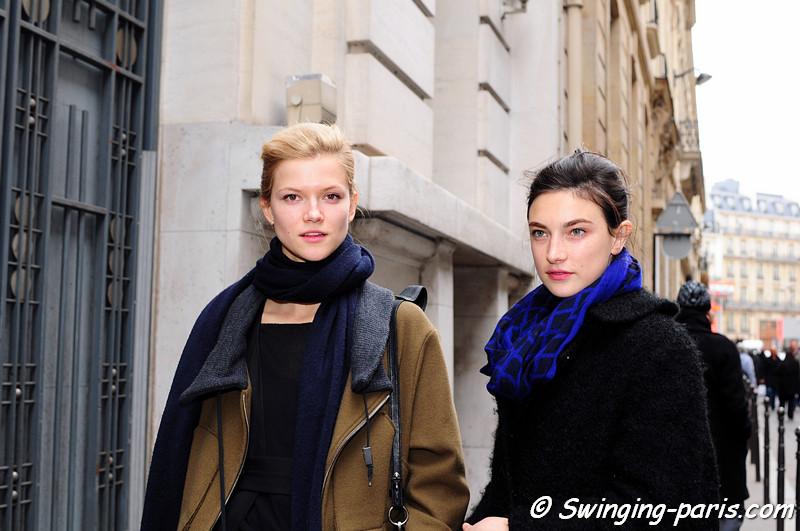 Jacquelyn Jablonski and Kasia Struss leaving Chanel Spring Couture show, Paris Fashion Week January 2011