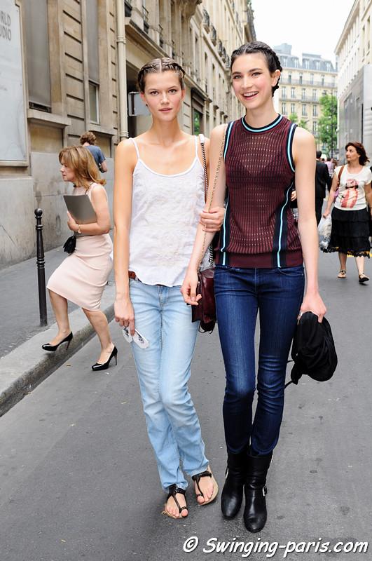 Jacquelyn Jablonski and Kasia Struss (left) leaving Elie Saab show, Paris Haute Couture F/W 2012 Fashion Week, July 2012