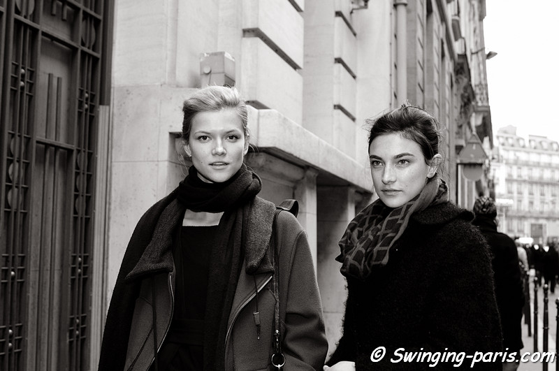 Jacquelyn Jablonski and Kasia Struss leaving Chanel Spring Couture show, Paris Fashion Week January 2011