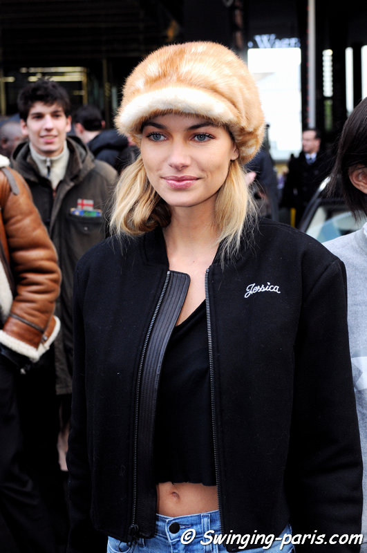 Jessica Hart leaving Sonia Rykiel show, Paris F/W 2014 RtW Fashion Week, February 2014