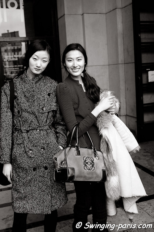 Ji Lili and Wang Shiqing leaving Elie Saab show during Paris Spring 2011 Couture Fashion Week