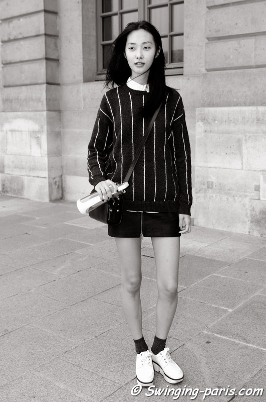 Ji Young Kwak outside Jean-Charles de Castelbajac show, Paris S/S 2014 RtW Fashion Week, October 2013