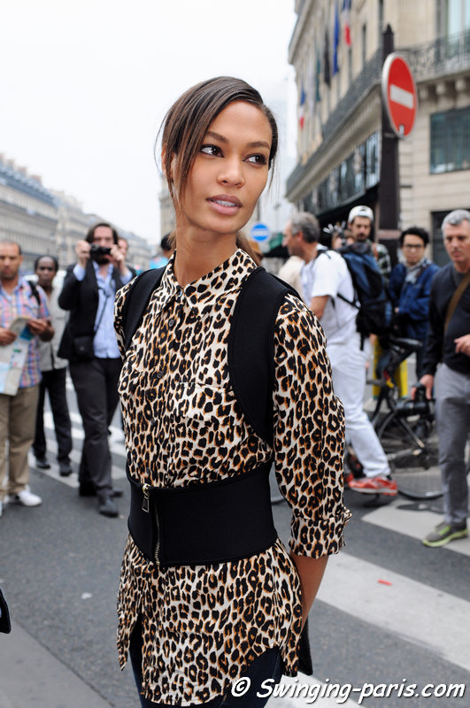 Joan Smalls leaving Stella McCartney show, Paris S/S 2014 RtW Fashion Week, September 2013
