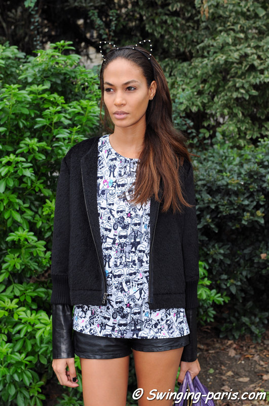 Joan Smalls leaving Chanel show, Paris S/S 2014 RtW Fashion Week, October 2013
