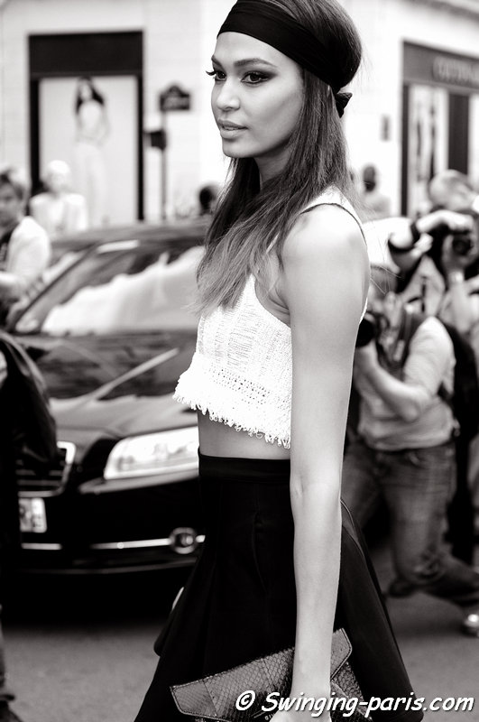 Joan Smalls outside Jean Paul Gaultier show, Paris Haute Couture F/W 2013 Fashion Week, July 2013