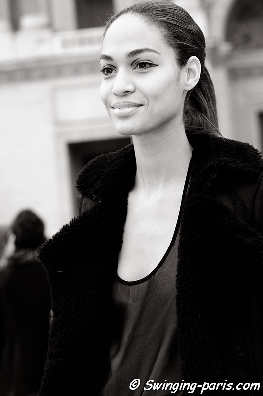Joan Smalls after Louis Vuitton show, Paris Fashion Week, March 2011