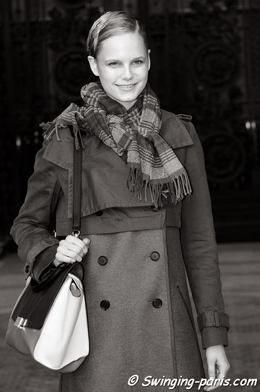 Josefine Nielsen leaving Léonard show, Paris F/W RtW 2012 Fashion Week, March 2012