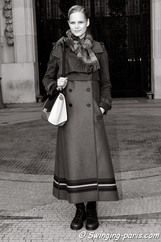 Josefine Nielsen leaving Lonard show, Paris F/W RtW 2012 Fashion Week, March 2012