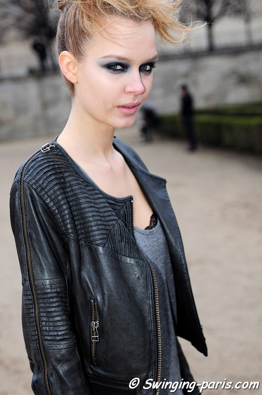 Josephine Skriver leaving John Galliano show, Paris F/W RtW 2012 Fashion Week, March 2012