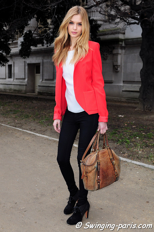 Josephine Skriver outside Paco Rabanne show, Paris F/W RtW 2012 Fashion Week, March 2012