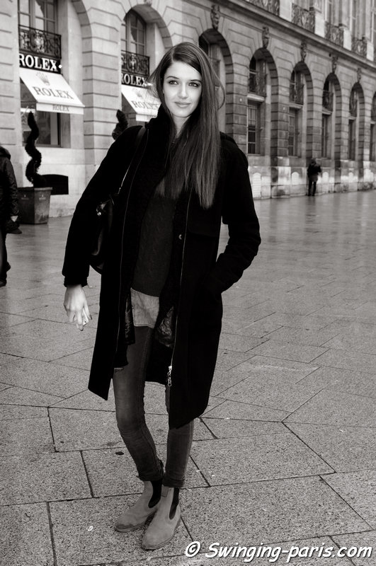 Josephine van Delden outside Roland Mouret show, Paris F/W 2014 RtW Fashion Week, February 2014