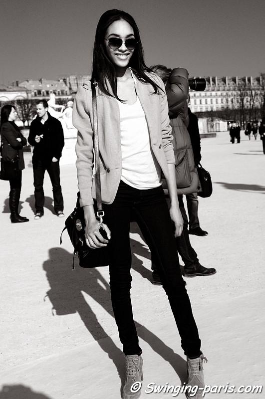 Jourdan Dunn after Valentino show, Paris Fashion Week, March 2011