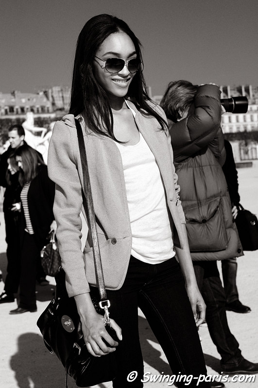 Jourdan Dunn after Valentino show, Paris Fashion Week, March 2011