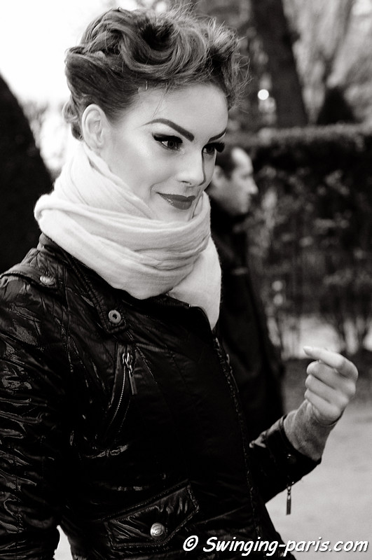 Juju Ivanyuk exiting Christian Dior show, Paris Fashion Week, January 2011