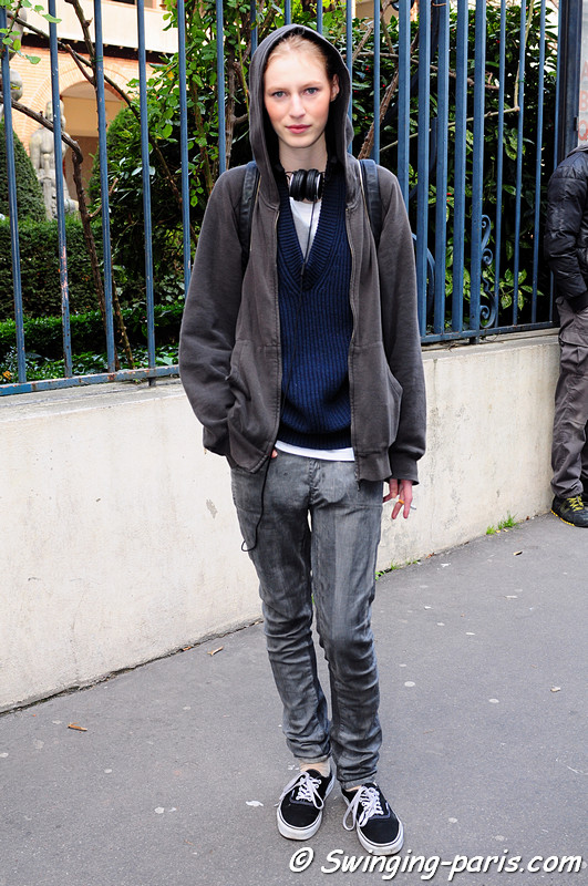 Julia Nobis leaving Bouchra Jarrar show, Paris Haute Couture S/S 2012 Fashion Week, January 2012