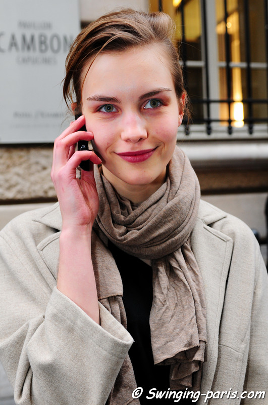 Julija Steponaviciute exiting Chanel show, Paris Fashion Week, January 2011