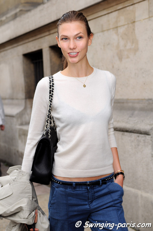 Karlie Kloss exiting Ann Demeulemeester show, Paris S/S 2013 RtW Fashion Week, September 2012