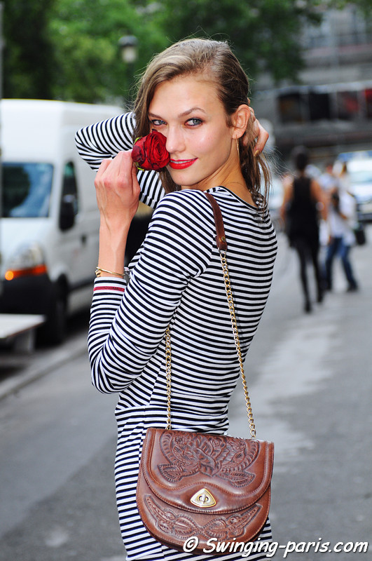 Karlie Kloss exiting Jean Paul Gaultier show, Paris Haute Couture F/W 2012 Fashion Week, July 2012