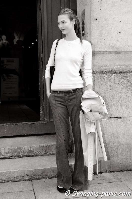 Karlie Kloss exiting Ann Demeulemeester show, Paris S/S 2013 RtW Fashion Week, September 2012