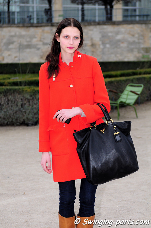 Karlina Caune outside Viktor & Rolf show, Paris F/W RtW 2012 Fashion Week, March 2012
