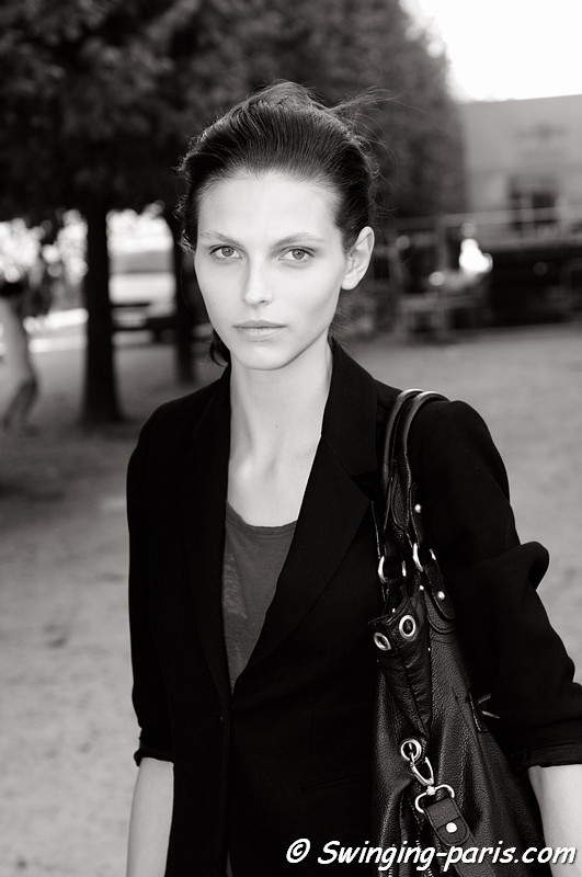 Karlina Caune leaving Carven show, Paris S/S 2012 Fashion Week, September 2011