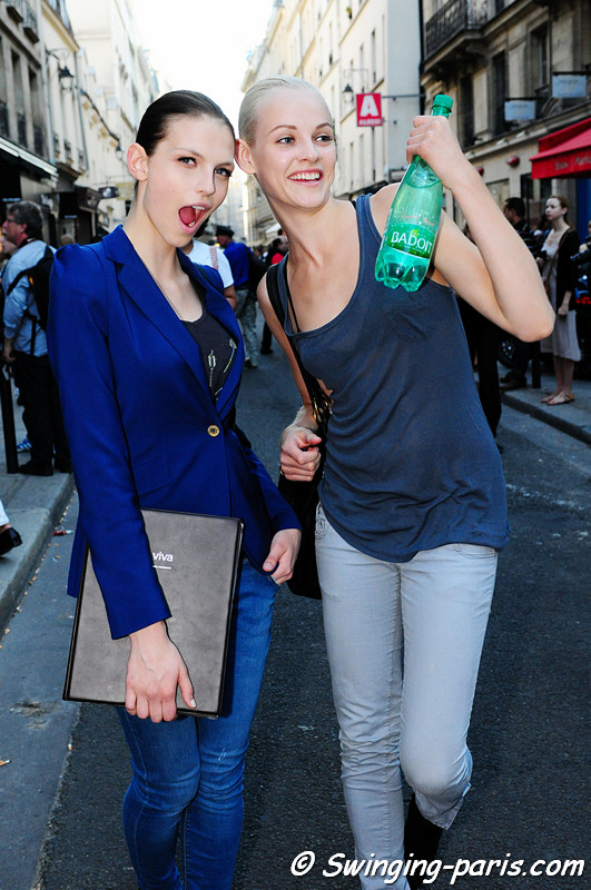 Karlina Caune and Ginta Lapina leaving Giambattista Valli show, Paris Haute Couture F/W Fashion Week, July 2011