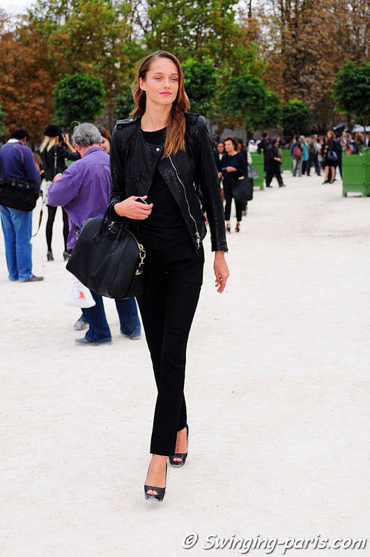 Karmen Pedaru leaving Elie Saab show, Paris S/S 2012 Fashion Week, October 2011