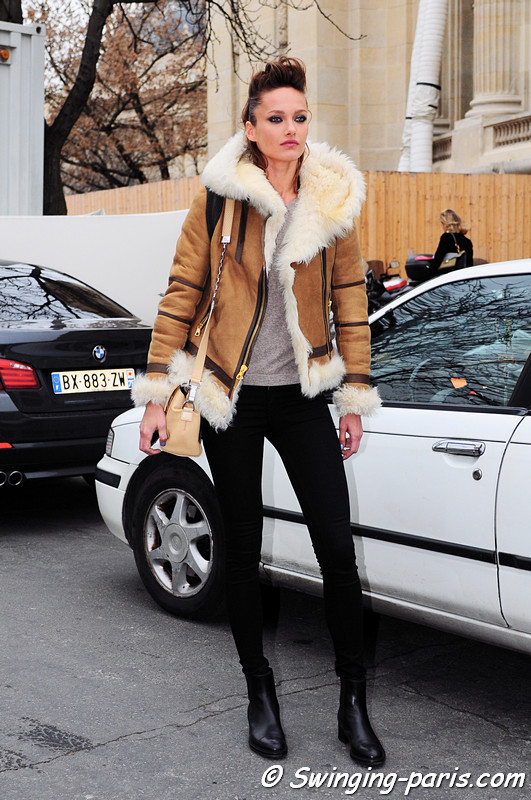 Karmen Pedaru leaving Chanel show, Paris Haute Couture S/S 2012 Fashion Week, January 2012