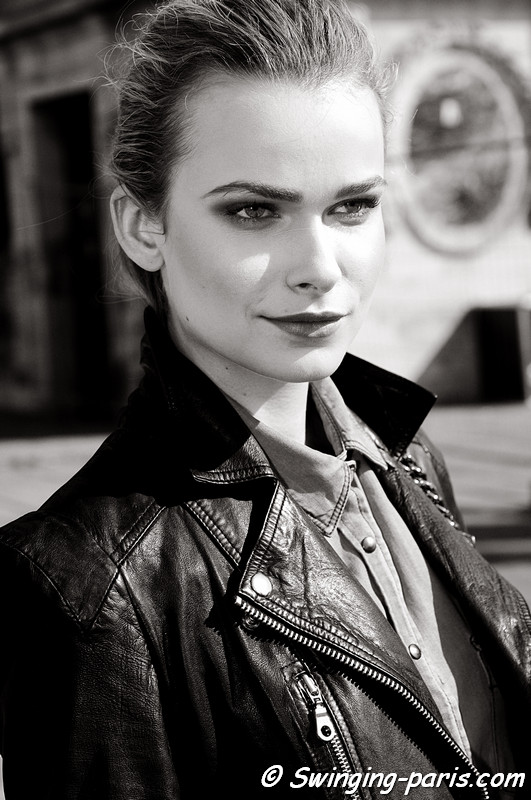 Karolina Mrozkova after Lonard show , Paris Fashion Week, March 2011
